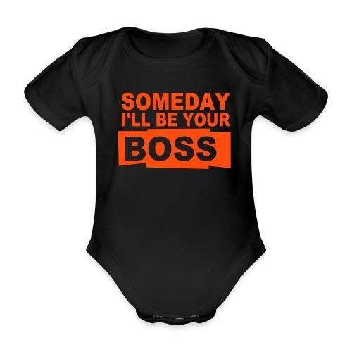 Boss romper_zwart_rood - Baby bio-rompertje met korte mouwen