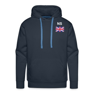Men's Premium Hoodie - Union Jack Logo on Chest and Sleeve with NS Printed on Chest.