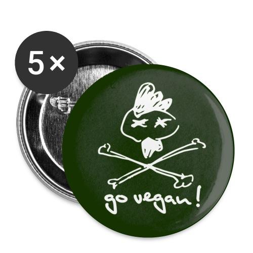BUTTON 'go vegan!' - Buttons klein 25 mm (5er Pack)