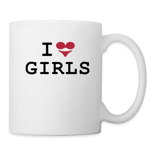 Tasse: I love girls (BH + Slip = Herz) - Tasse