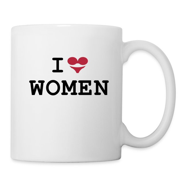 Tasse: I love women (BH + Slip = Herz)