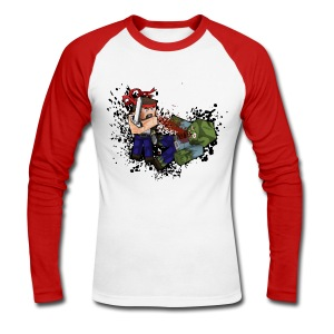Hero vs Zombie (Long sleeve) - Men's Long Sleeve Baseball T-Shirt