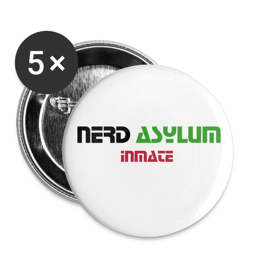 Nerd Asylum 'Inmate' badge - Buttons large 2.2''/56 mm(5-pack)