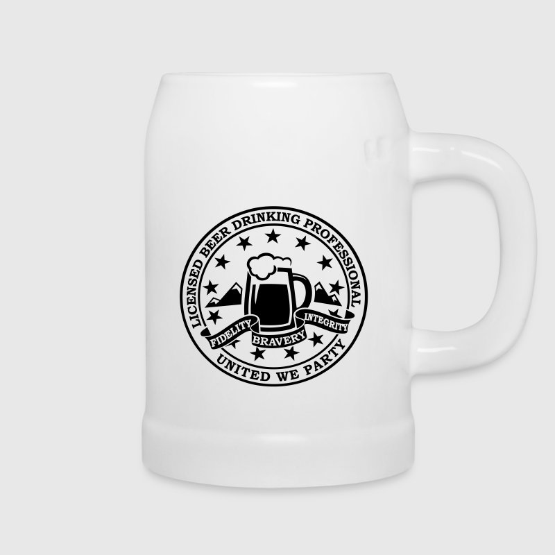 Funny i love beer drinking party and hell raising license badge emblem t-shirts for clubbing stag do partying st patrick Bottles & Mugs - Beer Mug
