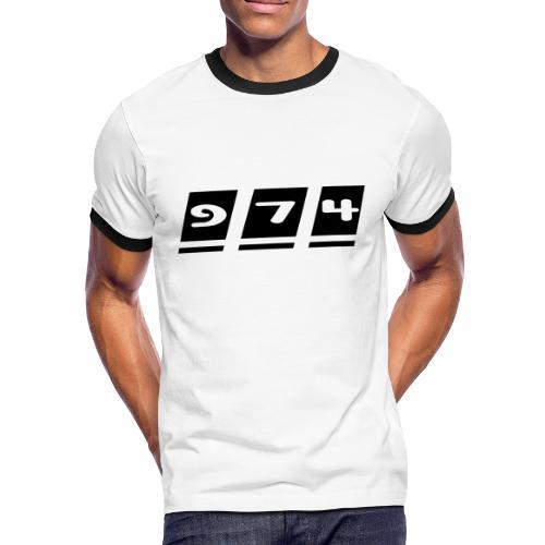 T-shirt Contraste Homme Homme écriture 974 - Réunion - T-shirt contrasté Homme