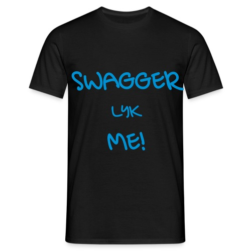 SWAGGER LYK ME BLACK/NEON BLUE - Men's T-Shirt