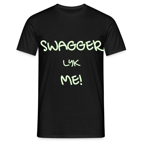 SWAGGER LYK ME BLACK/GLOW IN DARK WHITE - Men's T-Shirt