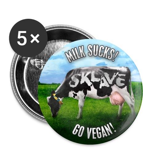 BUTTON 'MILK SUCKS! GO VEGAN' 01 - Buttons klein 25 mm (5er Pack)