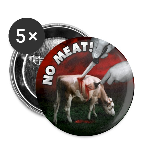 BUTTON 'NO MEAT!' - Buttons klein 25 mm (5er Pack)