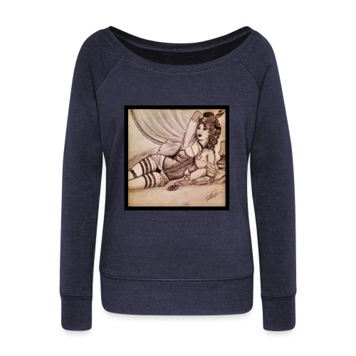 steampunk burlesque woman - Women's Boat Neck Long Sleeve Top