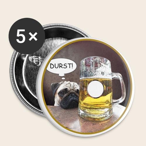 Großer Bier Durst Button - Buttons groß 56 mm (5er Pack)
