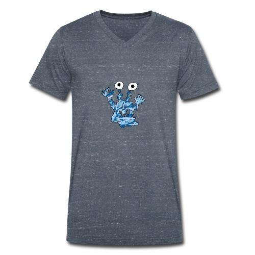 Blaues Männermonstershirt - Männer Bio-T-Shirt mit V-Ausschnitt von Stanley & Stella