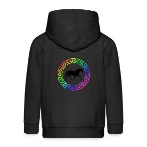 Celtic Rainbow Pony (black) Kid's Zip Hoodie - Kids' Premium Zip Hoodie