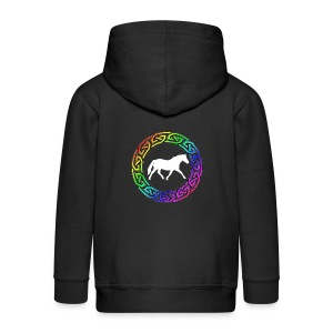 Celtic Rainbow Pony (white) Kids Zip Hoodie - Kids' Premium Zip Hoodie