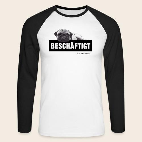 Mops Langarm-Shirt Beschäftigt - Männer Baseballshirt langarm