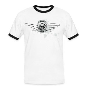 Shoot Again Pinball & Skull Motif Contrast T (White-out) - Men's Ringer Shirt