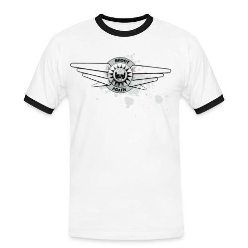 Shoot Again Pinball & Skull Motif Contrast T (White-out) - Men's Ringer Shirt