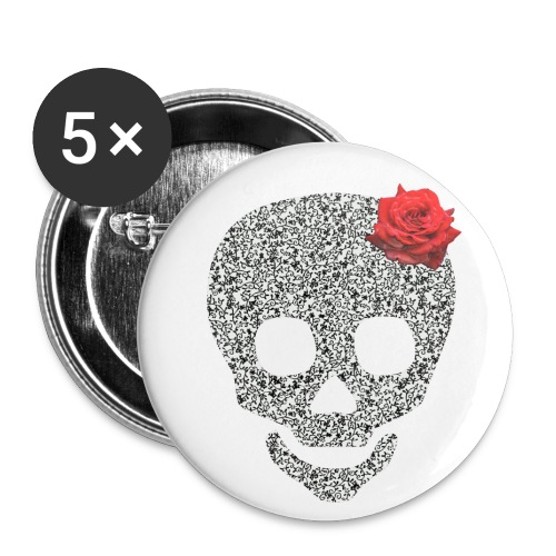 Skull and rose - Buttons medium 1.26/32 mm (5-pack)