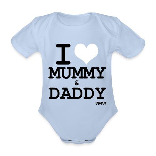 I love mummy & daddy babby vest - Organic Short-sleeved Baby Bodysuit