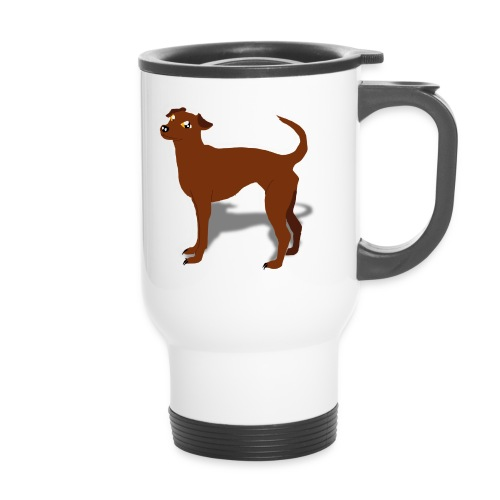 a coffee like a RED pinscher to go - Thermobecher