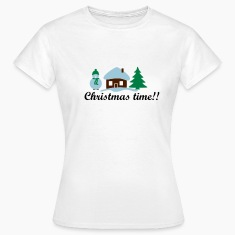 christmas house at North pole & snowman T-Shirts