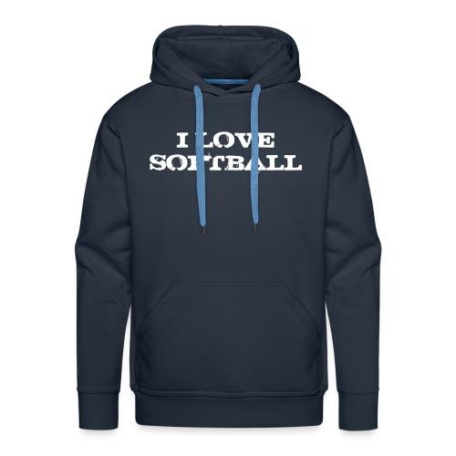Sweat I love softball - Sweat-shirt à capuche Premium pour hommes