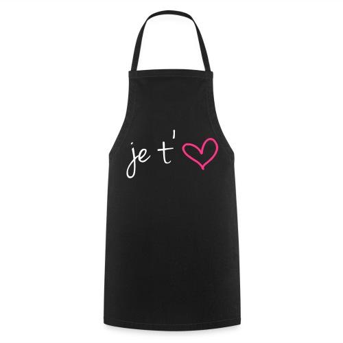 Tablier Noir de cuisine Je t'aime - Tablier de cuisine