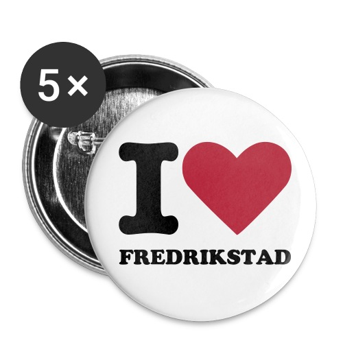 Button - I love Fredrikstad - Middels pin 32 mm (5-er pakke)