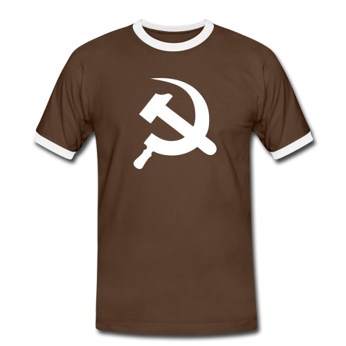 Hammer & Sickle Contrast Tee (click for more colors) - Men's Ringer Shirt