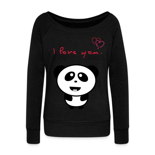 I love you Panda - Women's Boat Neck Long Sleeve Top