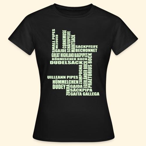 Frauen T-Shirt - Sackpfeifen Textwolke - nachtleuchtend - Frauen T-Shirt