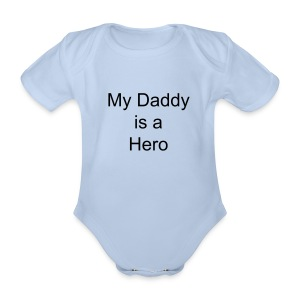 My Daddy is a hero baby-gro pink - Organic Short-sleeved Baby Bodysuit
