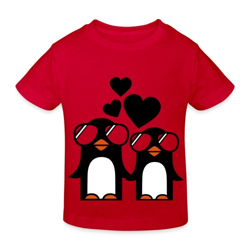 Funky Pinguinin Love - Kinder Bio-T-Shirt