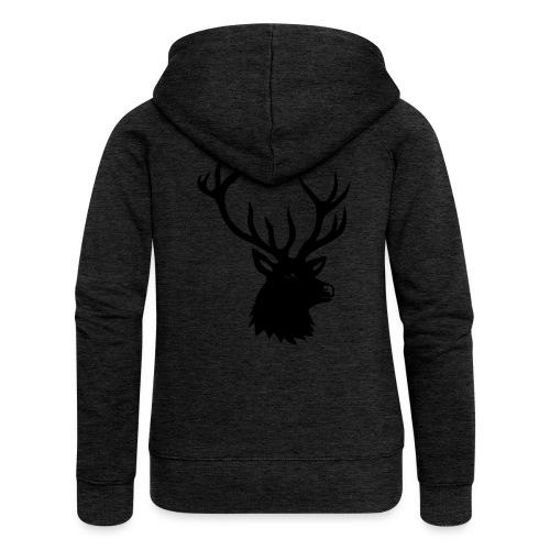 tiershirt t-shirt hirsch röhrender brunft geweih elch stag antler jäger junggesellenabschied förster jagd - Frauen Premium Kapuzenjacke