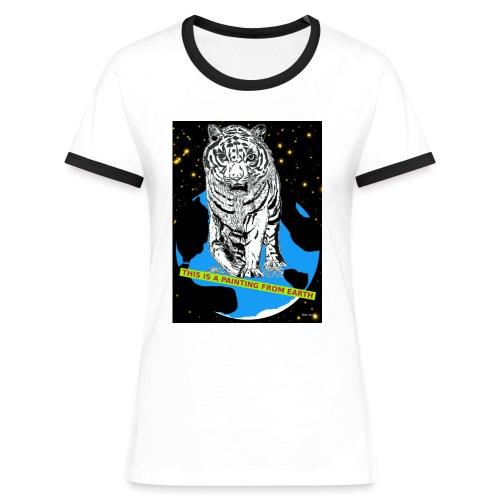 vrouwen T-shirt met tijger - Vrouwen contrastshirt