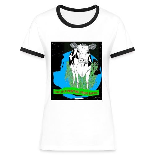 vrouw T-shirt koe - Vrouwen contrastshirt