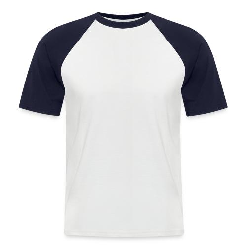 Baseball-shirt manches courtes Homme. Coloris ; blanc/noir, blanc/rouge, gris/noir et blanc/bleu marine - T-shirt baseball manches courtes Homme