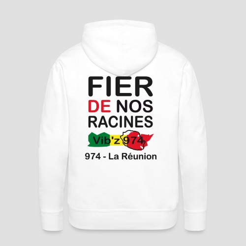 Sweat-shirt à capuche Homme Fier de nos racine 974 - Réunion - Sweat-shirt à capuche Premium pour hommes