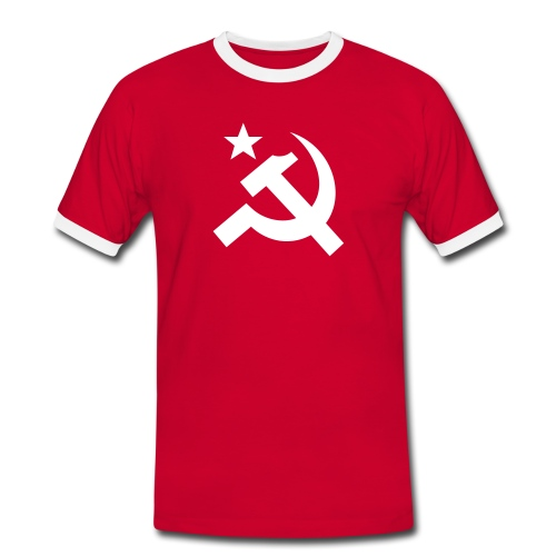 Bold Hammer Sickle Contrast Tee (click for more colors) - Men's Ringer Shirt