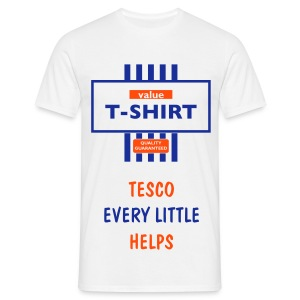 white tee value t-shirt  tesco every little helps print - Men's T-Shirt