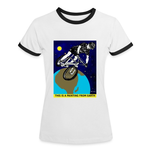 vrouwen t-shirt mouintainbiker - Vrouwen contrastshirt