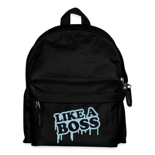 Ryggsäck: Like a boss - Rosa med blå text - Ryggsäck för barn