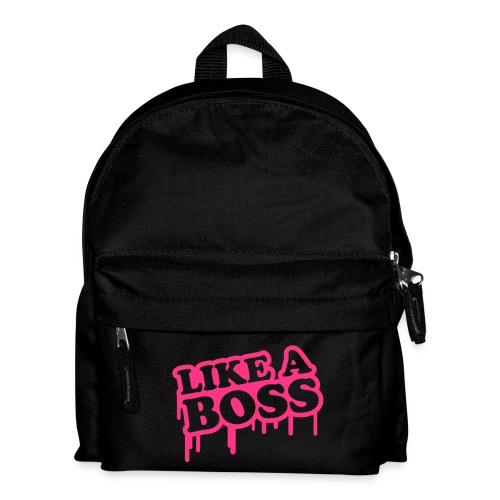 Ryggsäck: Like a boss - Blå med rosa text - Ryggsäck för barn