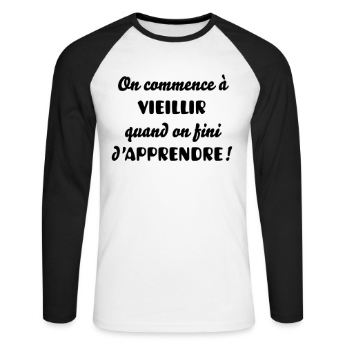 Tee-shirt Homme bicolore Col rond on commence à... - T-shirt baseball manches longues Homme