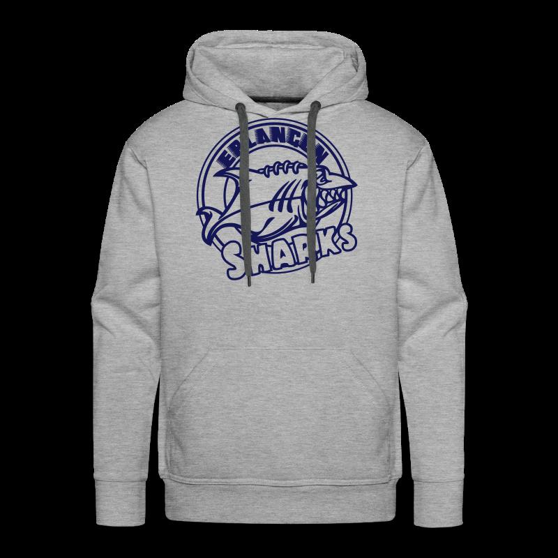 Logo Navy auf grauem Hoodie (m) - Männer Premium Hoodie