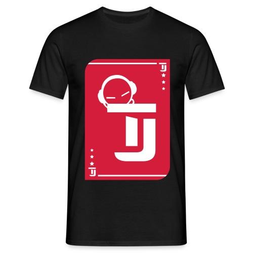 Männer T-Shirt - T-Jirt in Schwarz Druck: Rot/Weiß - Flexdruck
