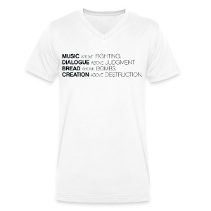 MUSIC ABOVE FIGHTING V-hals t-shirt - Mannen bio T-shirt met V-hals van Stanley & Stella
