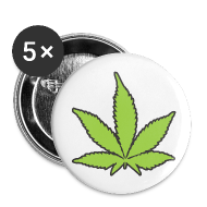 Buttons & Anstecker ~ Buttons mittel 32 mm ~ 5x Pin-Buttons mit dem Hanfparade Hanfblatt