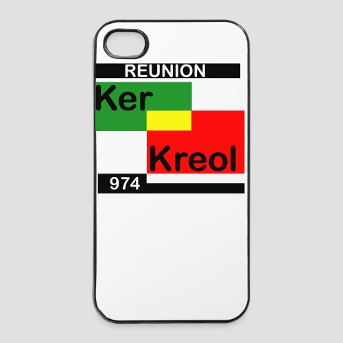 Coque iPhone 4/4S 974 Ker Kreol  Carr Rasta - Coque rigide iPhone 4/4s