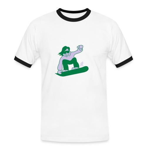 snowboard fun - Koszulka męska z kontrastowymi wstawkami